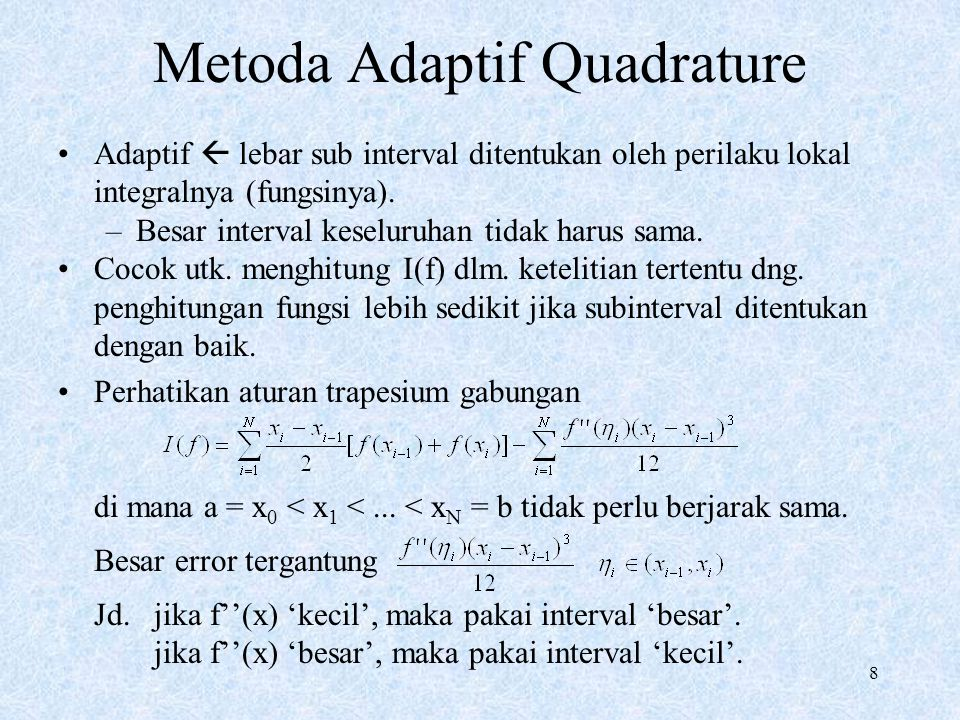 Metoda Adaptif Quadrature