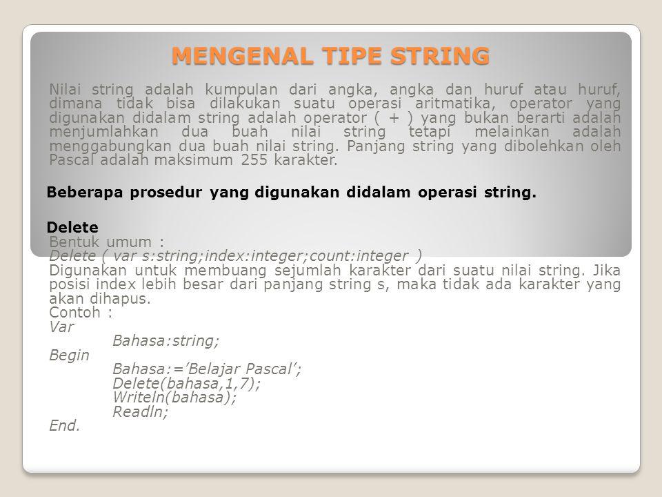 MENGENAL TIPE STRING