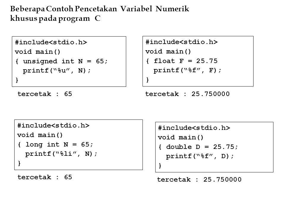 Beberapa Contoh Pencetakan Variabel Numerik khusus pada program C