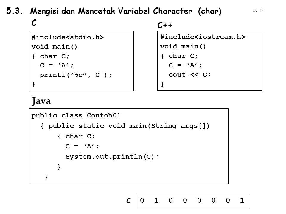 Java 5.3. Mengisi dan Mencetak Variabel Character (char) C C++