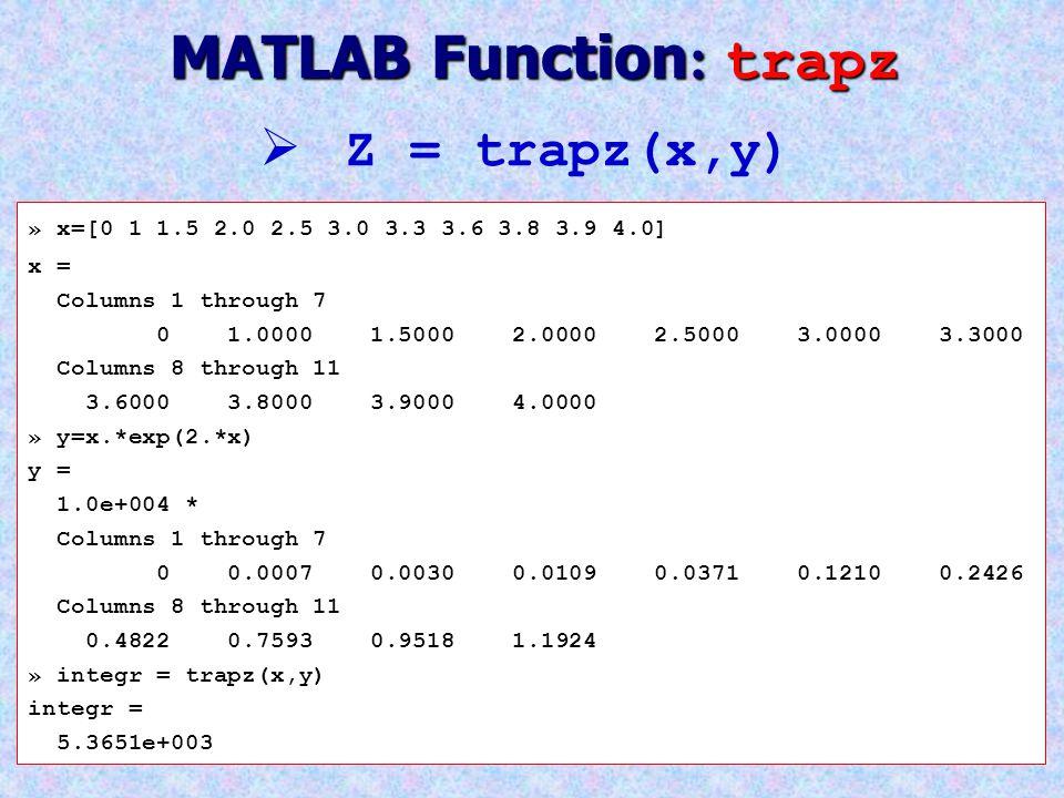 MATLAB Function: trapz