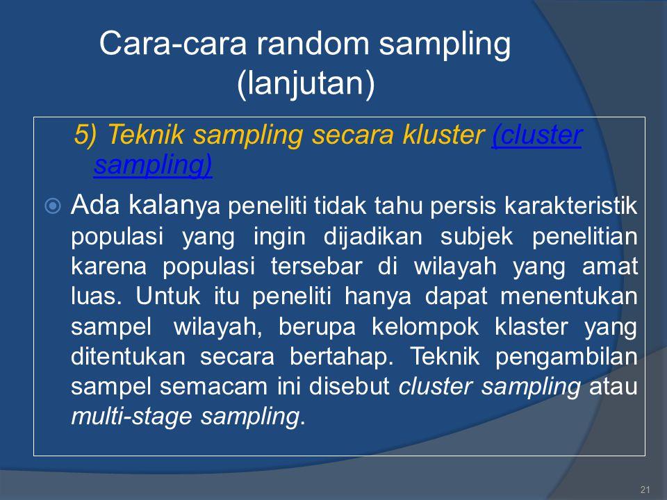 Cara-cara random sampling (lanjutan)