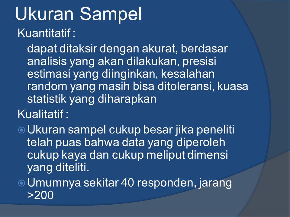Ukuran Sampel Kuantitatif :