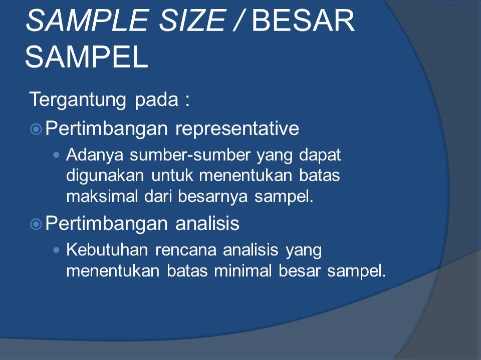 SAMPLE SIZE / BESAR SAMPEL