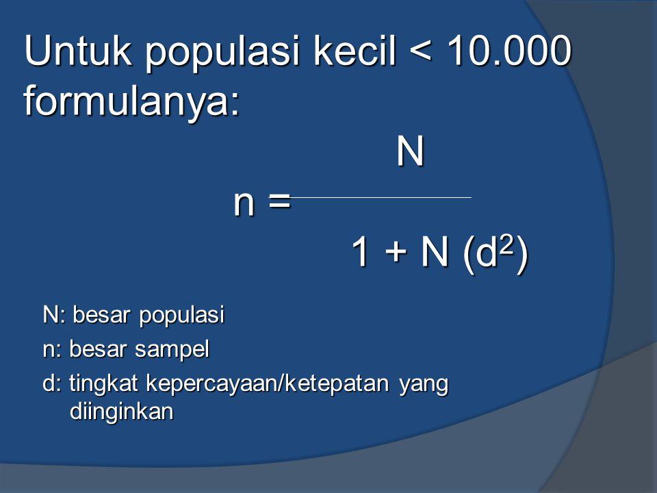 Untuk populasi kecil < 10.000 formulanya: N n = 1 + N (d2)