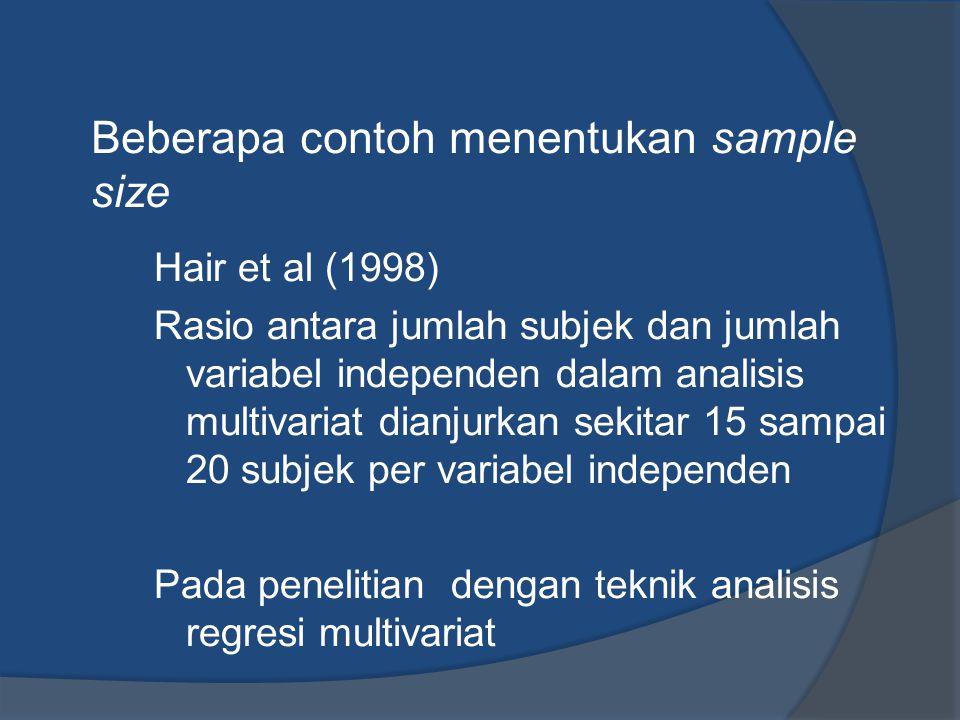 Beberapa contoh menentukan sample size