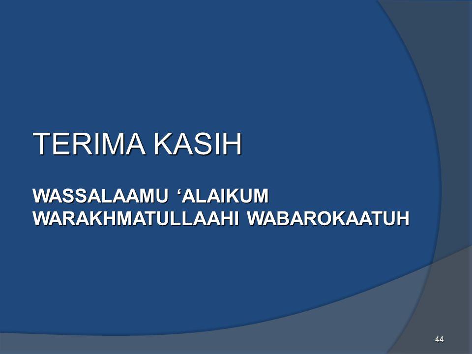 TERIMA KASIH WASSALAAMU 'ALAIKUM WARAKHMATULLAAHI WABAROKAATUH