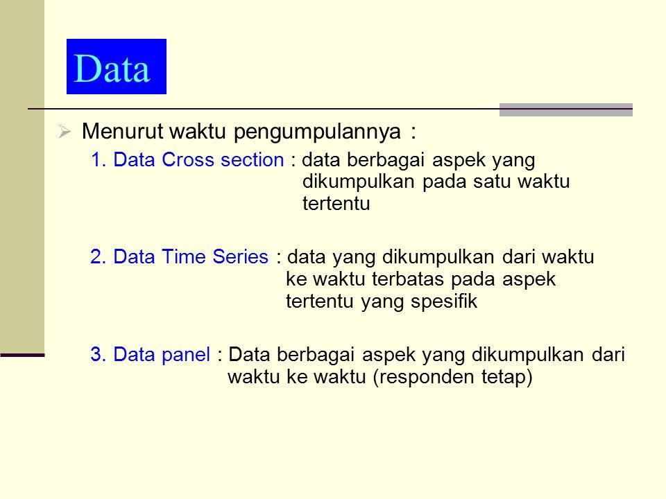 data Data Menurut waktu pengumpulannya :