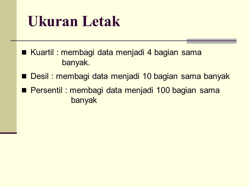 Ukuran Letak Kuartil : membagi data menjadi 4 bagian sama banyak.