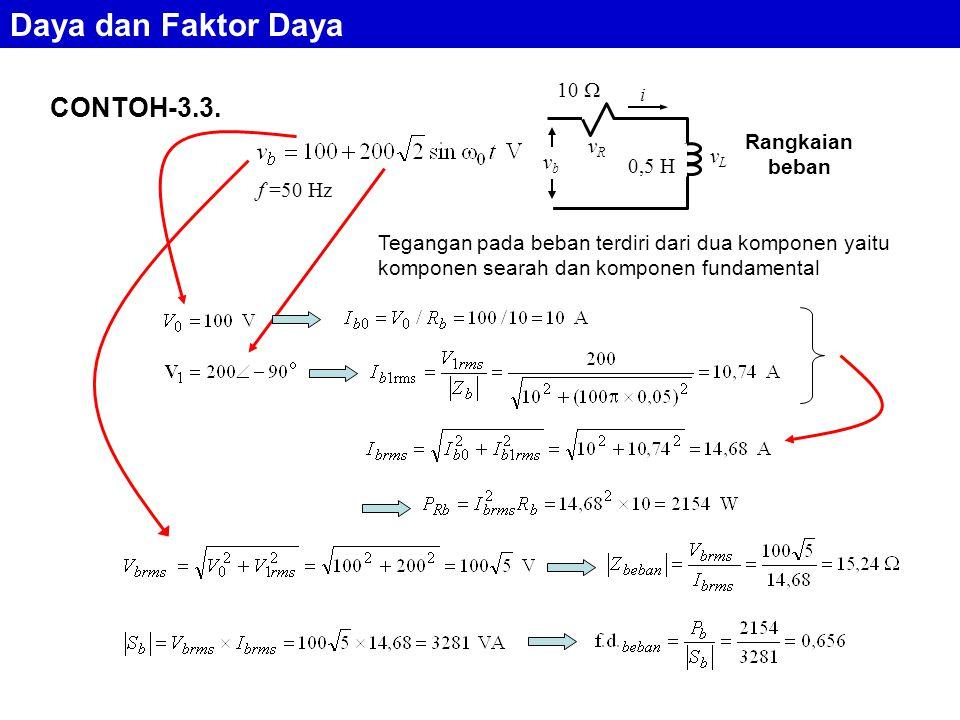 Daya dan Faktor Daya CONTOH-3.3. 10  Rangkaian beban vR vL vb 0,5 H
