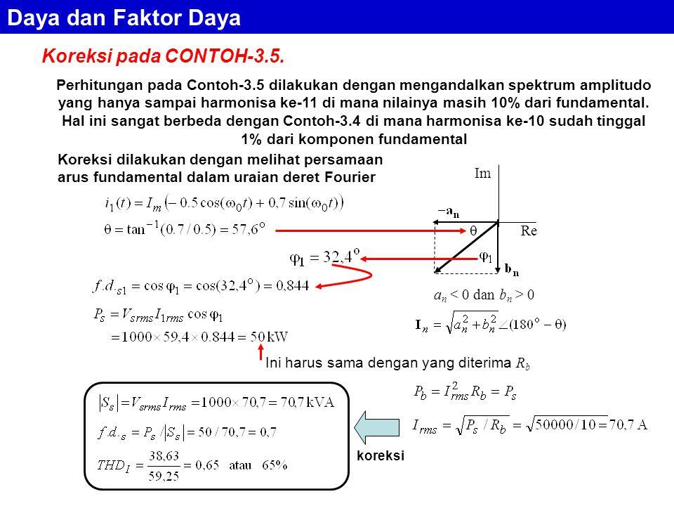 Daya dan Faktor Daya Koreksi pada CONTOH-3.5.