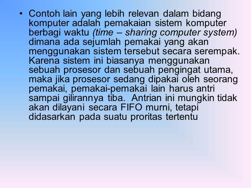 Contoh lain yang lebih relevan dalam bidang komputer adalah pemakaian sistem komputer berbagi waktu (time – sharing computer system) dimana ada sejumlah pemakai yang akan menggunakan sistem tersebut secara serempak.
