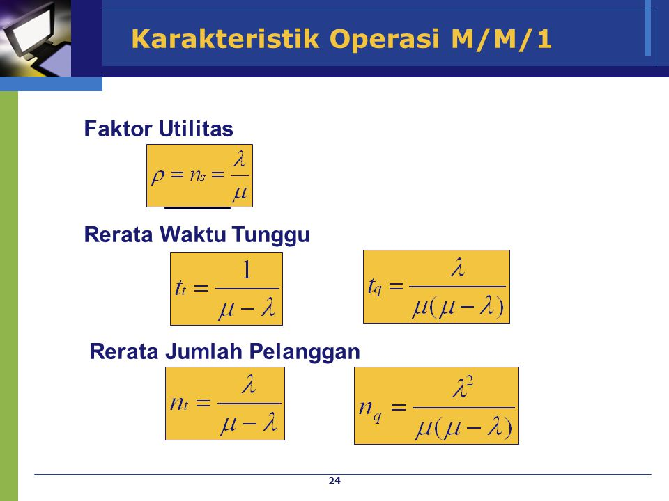 Karakteristik Operasi M/M/1
