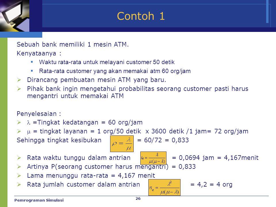 Contoh 1 Sebuah bank memiliki 1 mesin ATM. Kenyataanya :