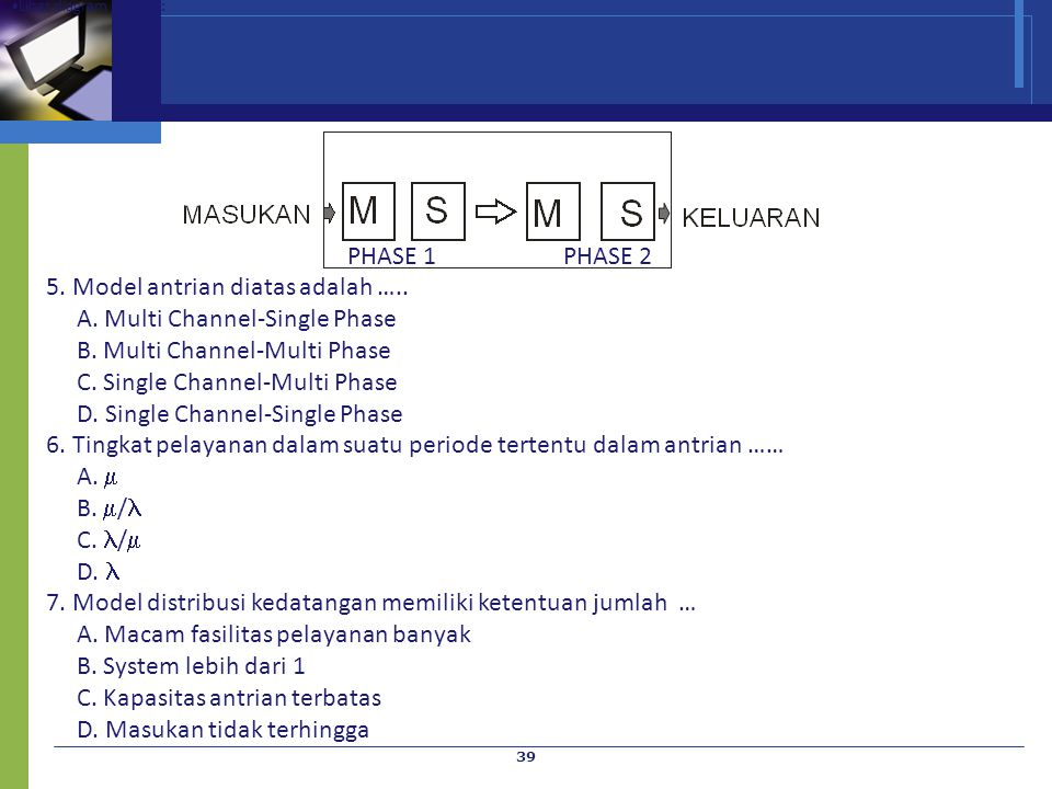 5. Model antrian diatas adalah ….. A. Multi Channel-Single Phase
