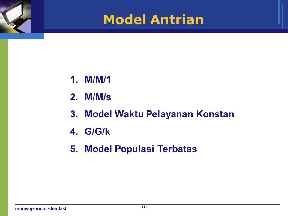 Model Antrian M/M/1 M/M/s Model Waktu Pelayanan Konstan G/G/k