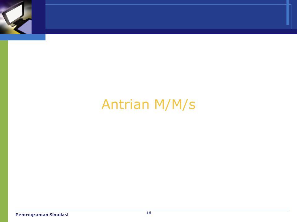 Antrian M/M/s Pemrograman Simulasi