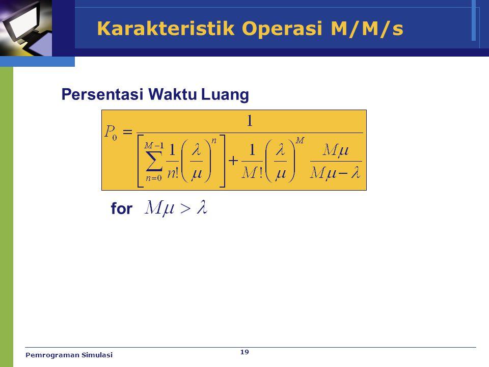 Karakteristik Operasi M/M/s