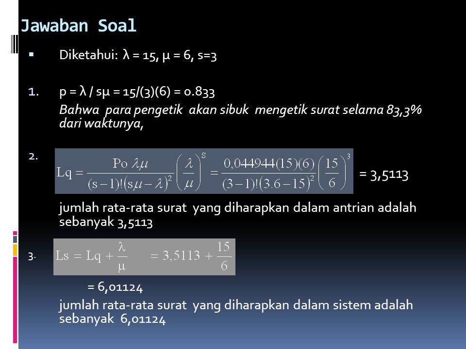 Jawaban Soal Diketahui: λ = 15, μ = 6, s=3