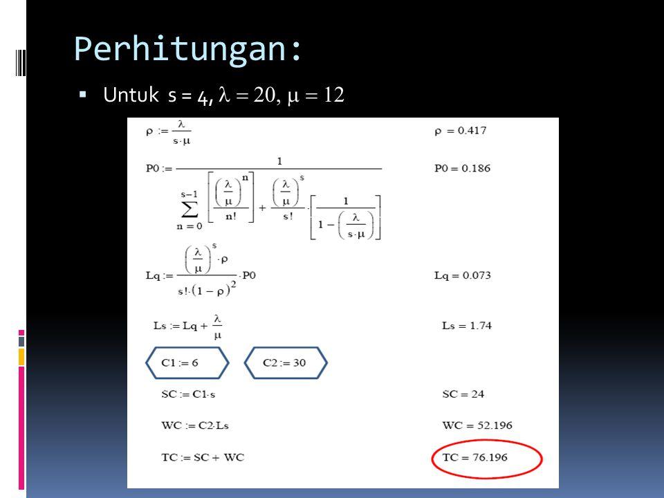 Perhitungan: Untuk s = 4, l = 20, m = 12