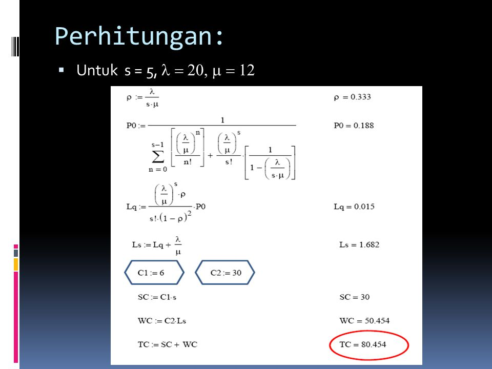 Perhitungan: Untuk s = 5, l = 20, m = 12