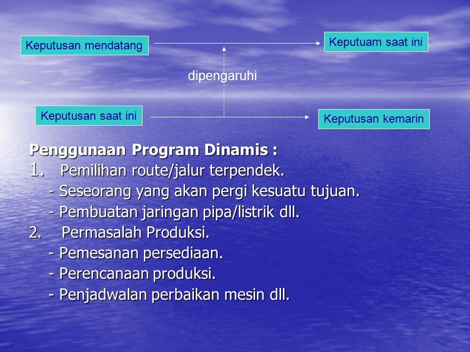 Penggunaan Program Dinamis : Pemilihan route/jalur terpendek.