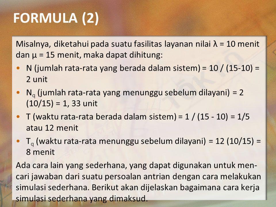 FORMULA (2) Misalnya, diketahui pada suatu fasilitas layanan nilai λ = 10 menit dan μ = 15 menit, maka dapat dihitung: