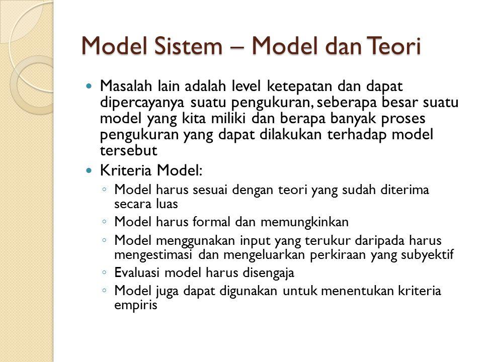 Model Sistem – Model dan Teori