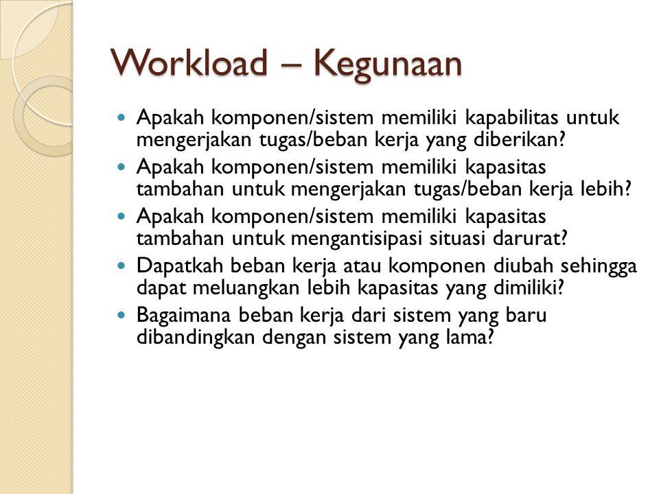 Workload – Kegunaan Apakah komponen/sistem memiliki kapabilitas untuk mengerjakan tugas/beban kerja yang diberikan