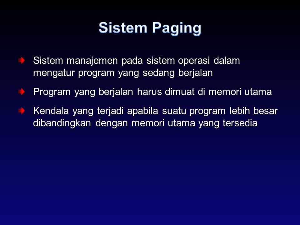Sistem Paging Sistem manajemen pada sistem operasi dalam mengatur program yang sedang berjalan. Program yang berjalan harus dimuat di memori utama.