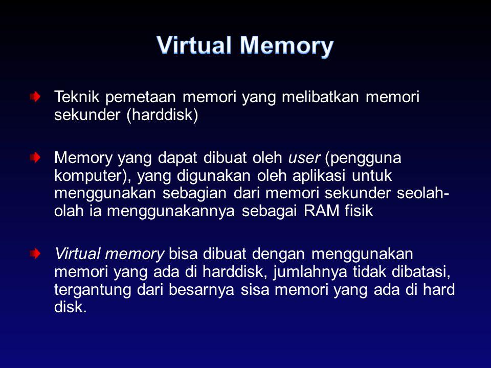 Virtual Memory Teknik pemetaan memori yang melibatkan memori sekunder (harddisk)