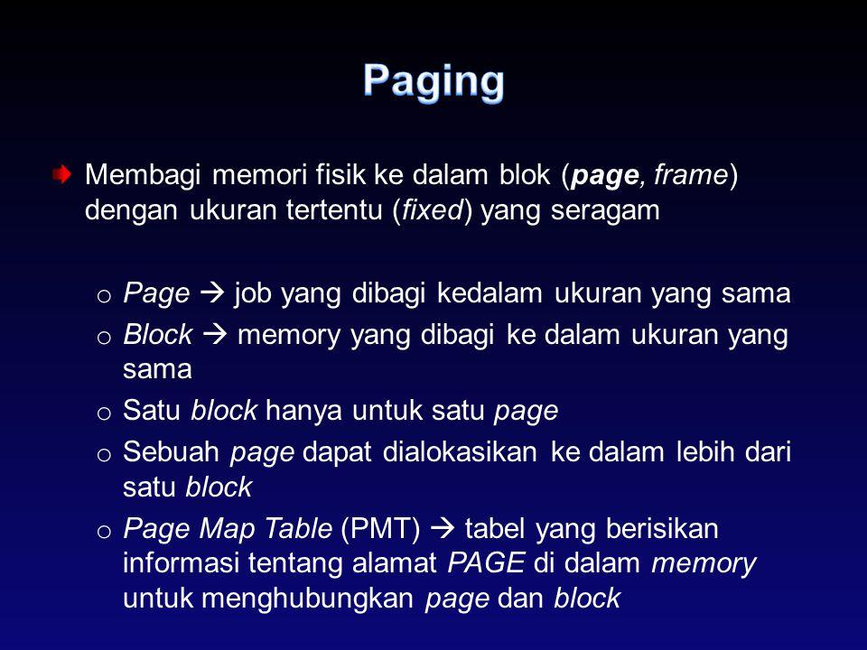 Paging Membagi memori fisik ke dalam blok (page, frame) dengan ukuran tertentu (fixed) yang seragam.
