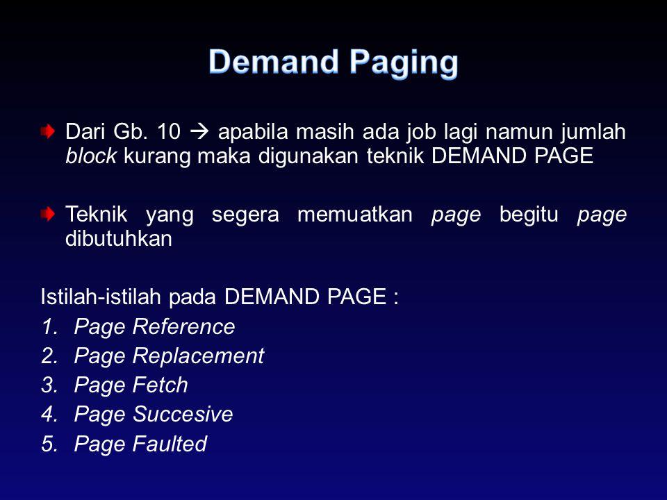 Demand Paging Dari Gb. 10  apabila masih ada job lagi namun jumlah block kurang maka digunakan teknik DEMAND PAGE.