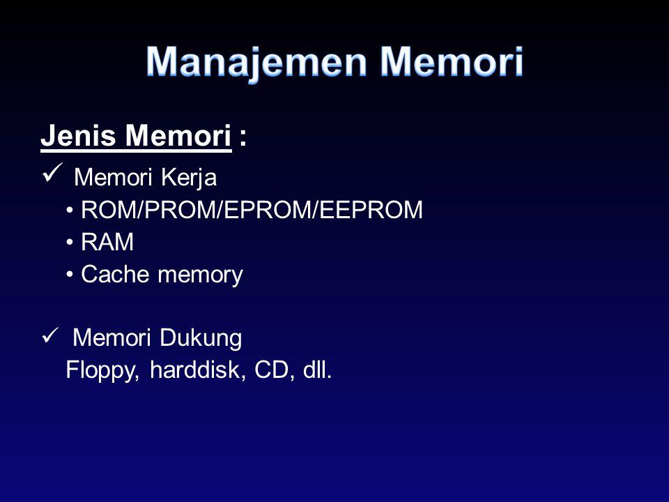 Manajemen Memori Jenis Memori : Memori Kerja • ROM/PROM/EPROM/EEPROM