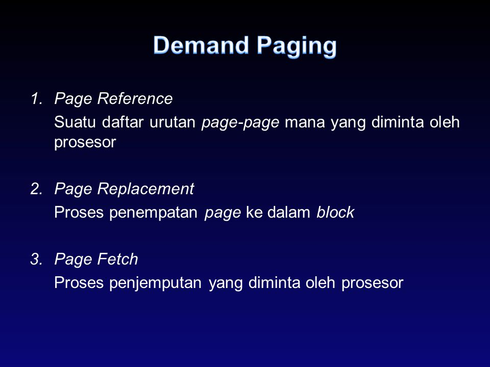 Demand Paging Page Reference