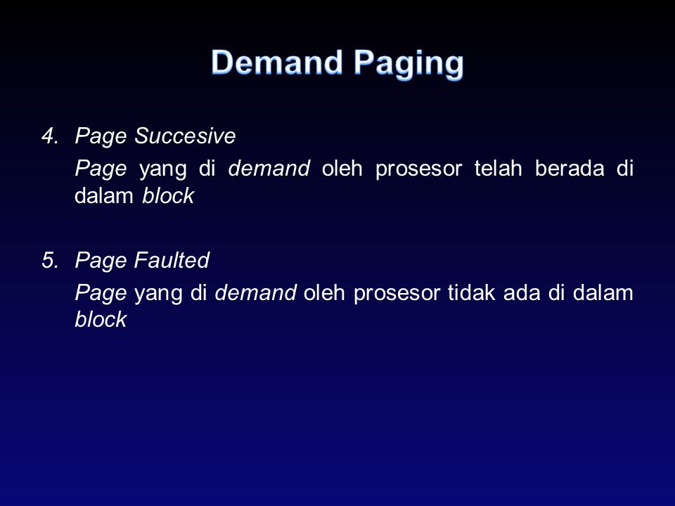 Demand Paging Page Succesive