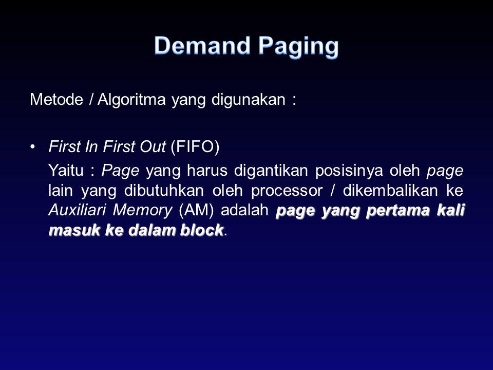 Demand Paging Metode / Algoritma yang digunakan :