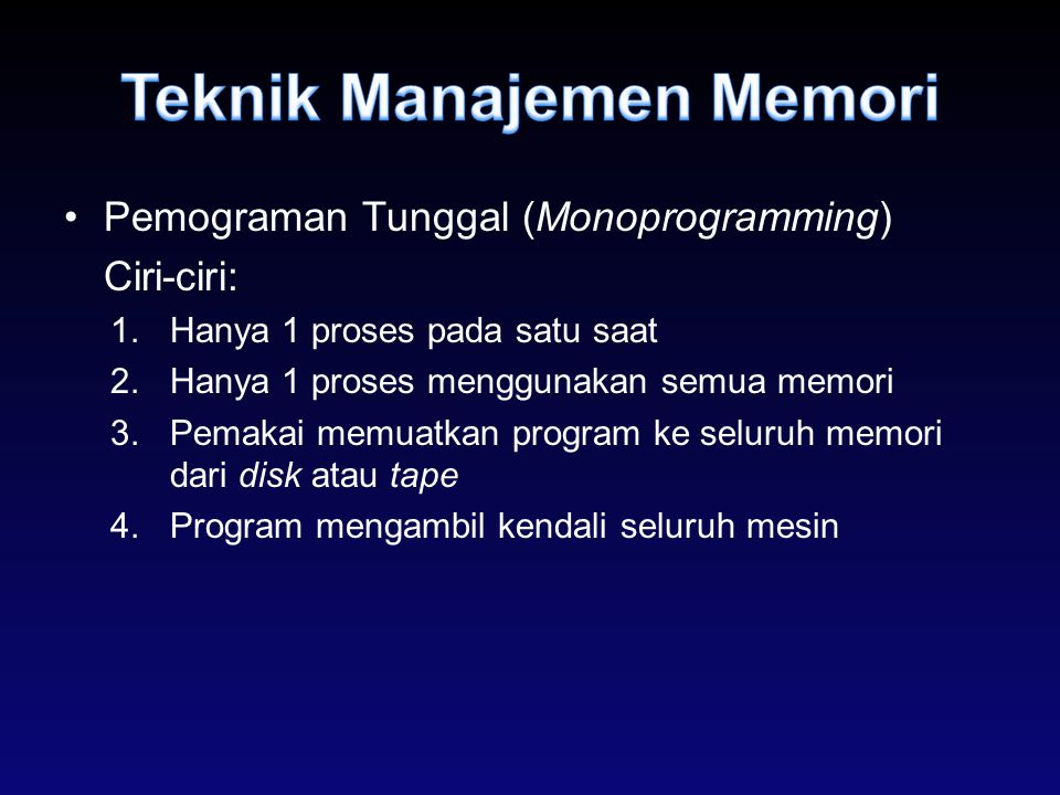 Teknik Manajemen Memori