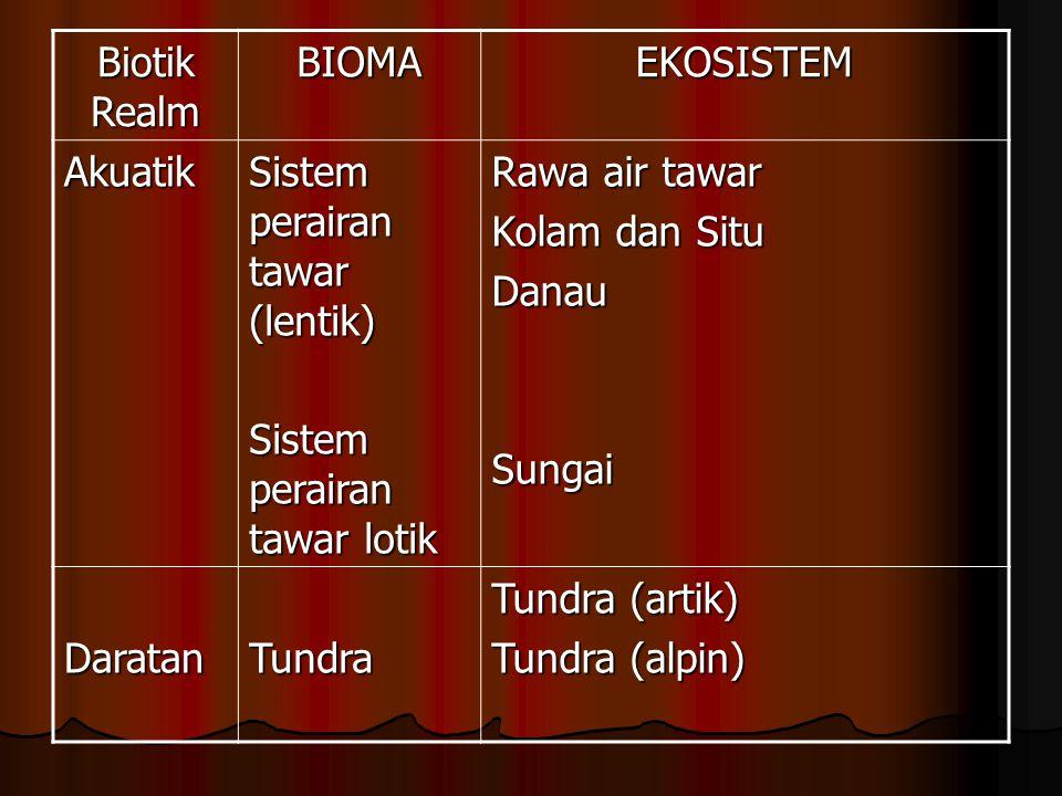 Biotik Realm BIOMA. EKOSISTEM. Akuatik. Sistem perairan tawar (lentik) Sistem perairan tawar lotik.