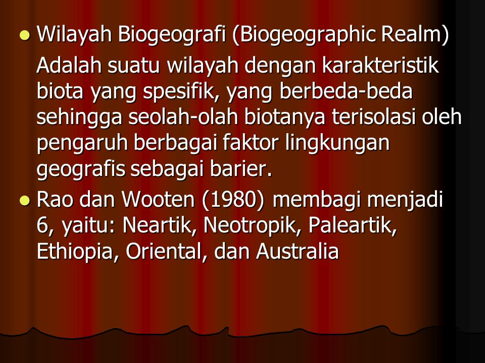 Wilayah Biogeografi (Biogeographic Realm)