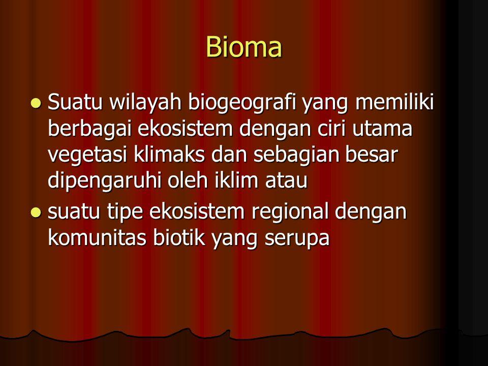 Bioma Suatu wilayah biogeografi yang memiliki berbagai ekosistem dengan ciri utama vegetasi klimaks dan sebagian besar dipengaruhi oleh iklim atau.