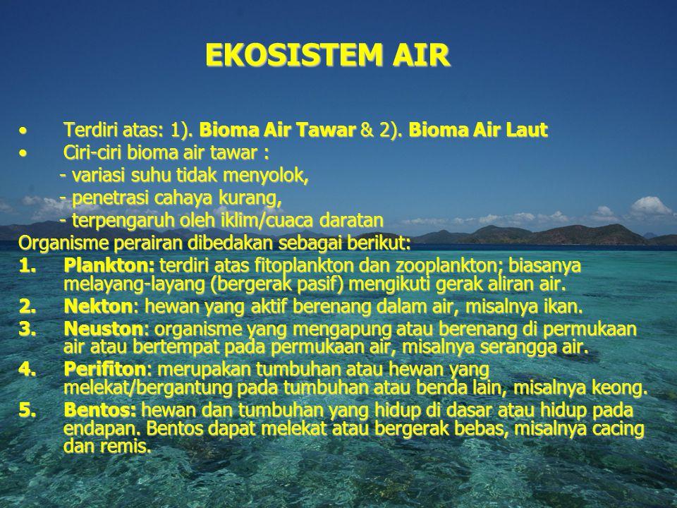 EKOSISTEM AIR Terdiri atas: 1). Bioma Air Tawar & 2). Bioma Air Laut