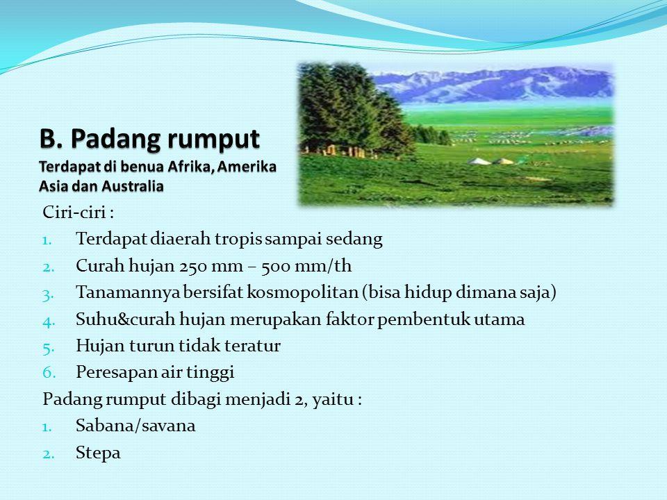 B. Padang rumput Terdapat di benua Afrika, Amerika Asia dan Australia