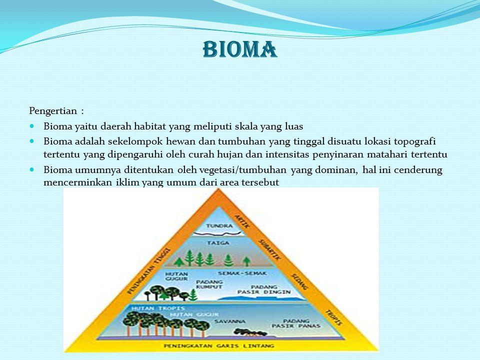 BIOMA Pengertian : Bioma yaitu daerah habitat yang meliputi skala yang luas.