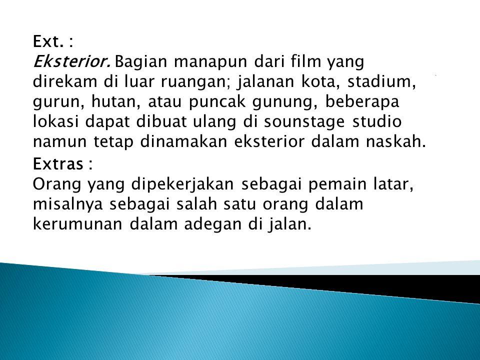Ext. : Eksterior. Bagian manapun dari film yang direkam di luar ruangan; jalanan kota, stadium, gurun, hutan, atau puncak gunung, beberapa lokasi dapat dibuat ulang di sounstage studio namun tetap dinamakan eksterior dalam naskah.