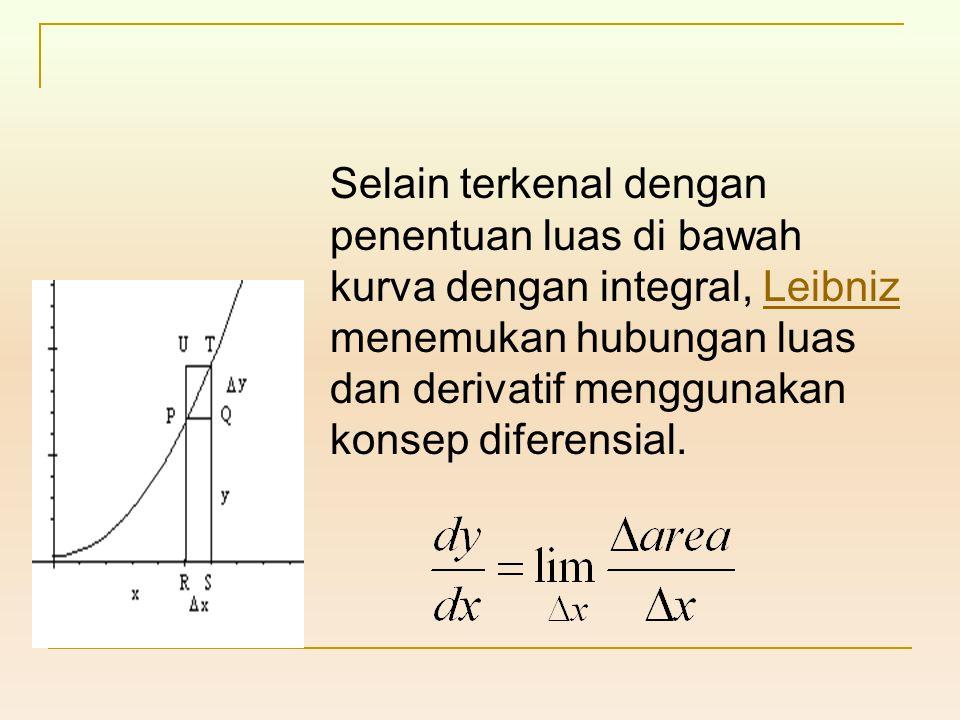 Selain terkenal dengan penentuan luas di bawah kurva dengan integral, Leibniz menemukan hubungan luas dan derivatif menggunakan konsep diferensial.