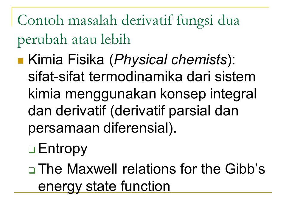 Contoh masalah derivatif fungsi dua perubah atau lebih
