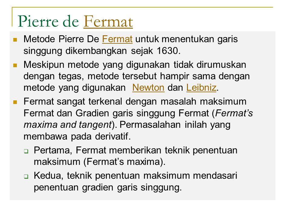 Pierre de Fermat Metode Pierre De Fermat untuk menentukan garis singgung dikembangkan sejak 1630.