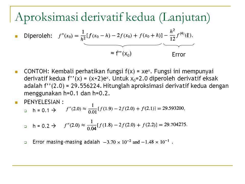 Aproksimasi derivatif kedua (Lanjutan)