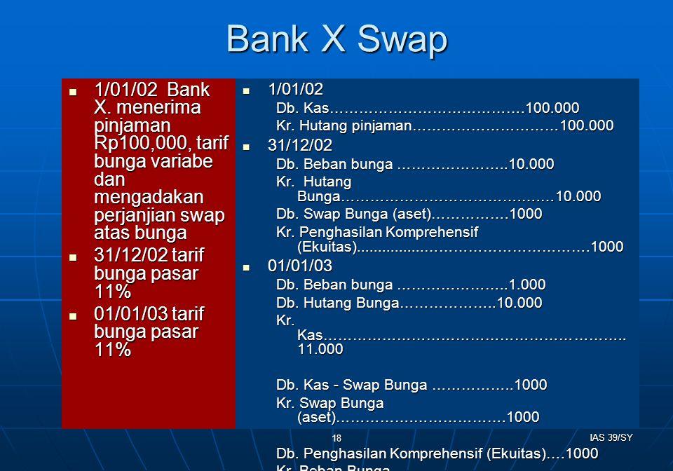 Bank X Swap 1/01/02 Bank X. menerima pinjaman Rp100,000, tarif bunga variabe dan mengadakan perjanjian swap atas bunga.